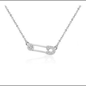 Melinda Maria Safety Pin Pendant Necklace Silver